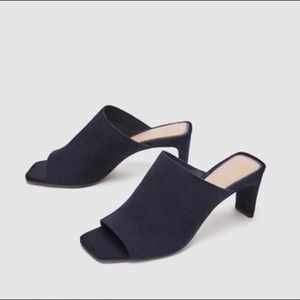 Zara blue leather heels